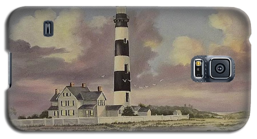 Lighthouse Galaxy S5 Case featuring the painting History Of Morris Lighthouse by Wanda Dansereau