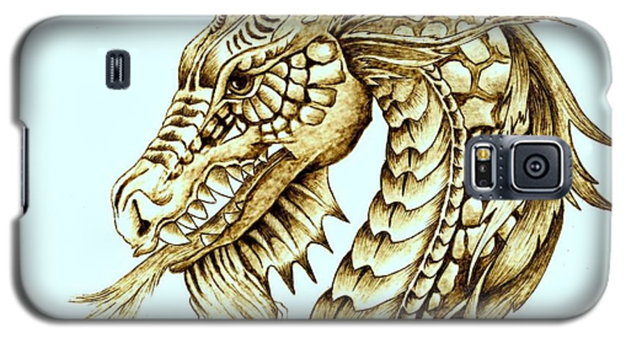 Dragon Galaxy S5 Case featuring the pyrography Horned Dragon by Danette Smith