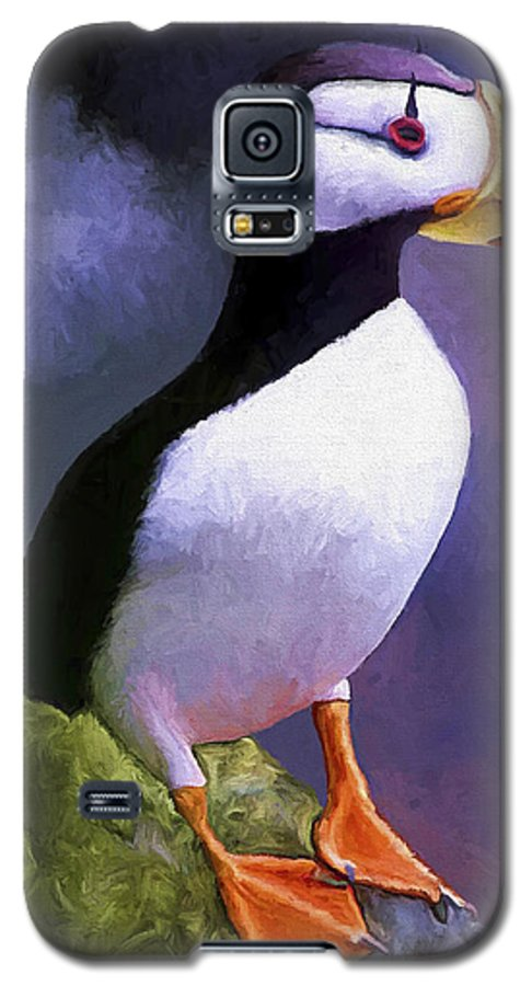 Animal Galaxy S5 Case featuring the painting Horned Puffin by David Wagner