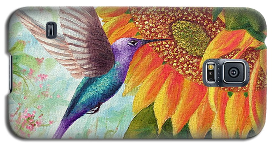 Hummingbird Galaxy S5 Case featuring the painting Humming For Nectar by David G Paul