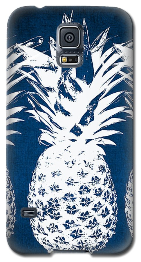Indigo Galaxy S5 Case featuring the painting Indigo And White Pineapples by Linda Woods