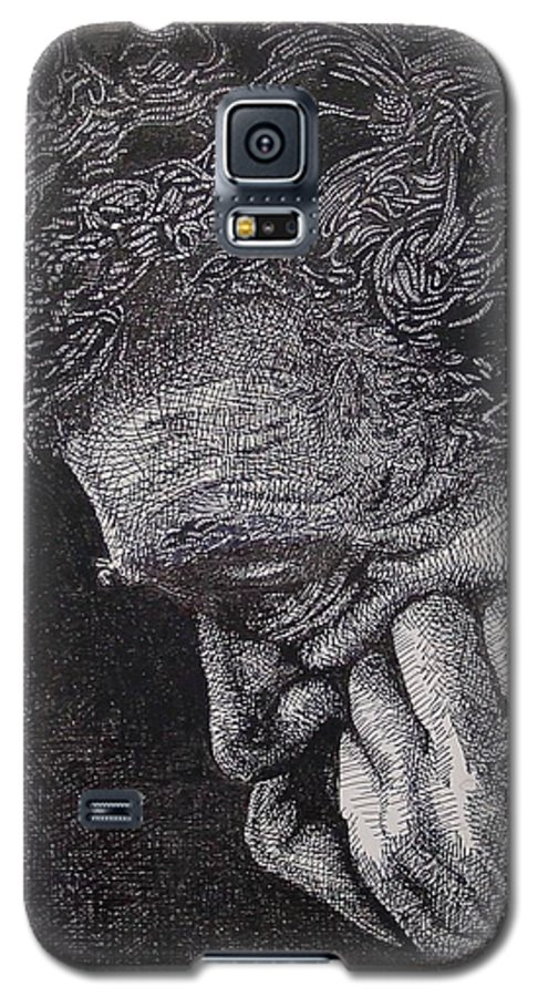 Portraiture Galaxy S5 Case featuring the drawing Introspection by Denis Gloudeman