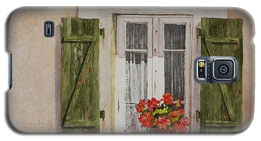Watercolor Galaxy S5 Case featuring the painting Irvillac Window by Mary Ellen Mueller Legault