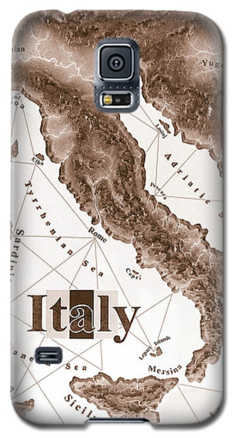 Italian Galaxy S5 Case featuring the mixed media Italian Map by Curtiss Shaffer