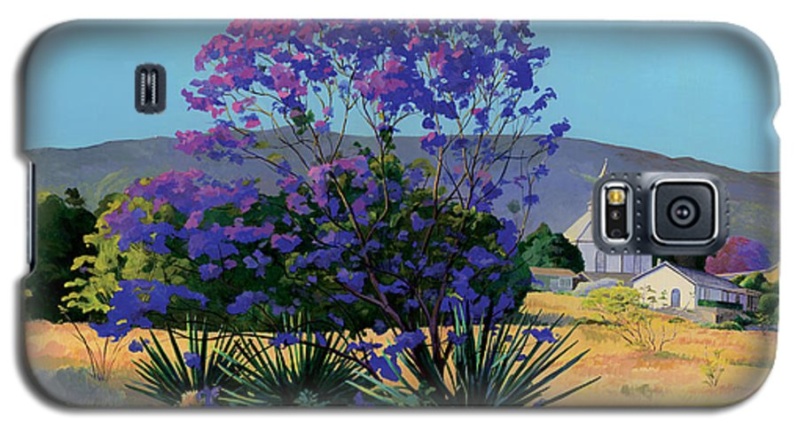 Acrylics Galaxy S5 Case featuring the painting Jacaranda Holy Ghost Church In Kula Maui Hawaii by Don Jusko
