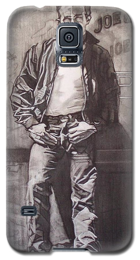 Charcoal; Icon;americana;cool;window;sidewalk;street;rock And Roll;jeans;t-shirt;diner;movie Star Galaxy S5 Case featuring the drawing James Dean by Sean Connolly