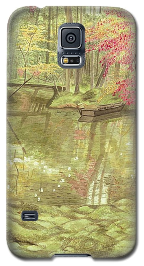 Landscape Galaxy S5 Case featuring the painting Japanese Pond by Rebecca Case