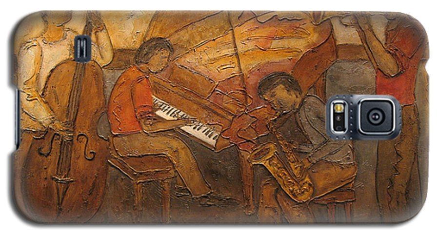 Impressionist Galaxy S5 Case featuring the painting Jazz Quartet by Anita Burgermeister