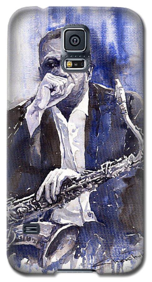 Jazz Galaxy S5 Case featuring the painting Jazz Saxophonist John Coltrane Blue by Yuriy Shevchuk