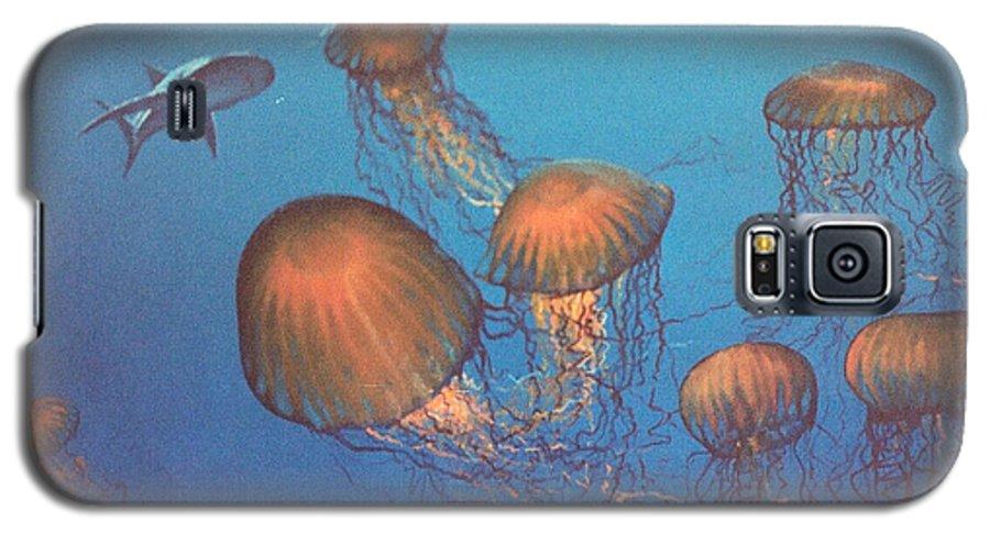 Underwater Galaxy S5 Case featuring the painting Jellyfish And Mr. Bones by Philip Fleischer