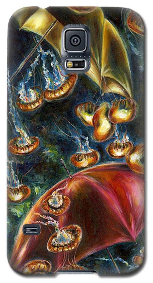 Jellyfish Galaxy S5 Case featuring the painting Jellyfishy Evening by Hiroko Sakai