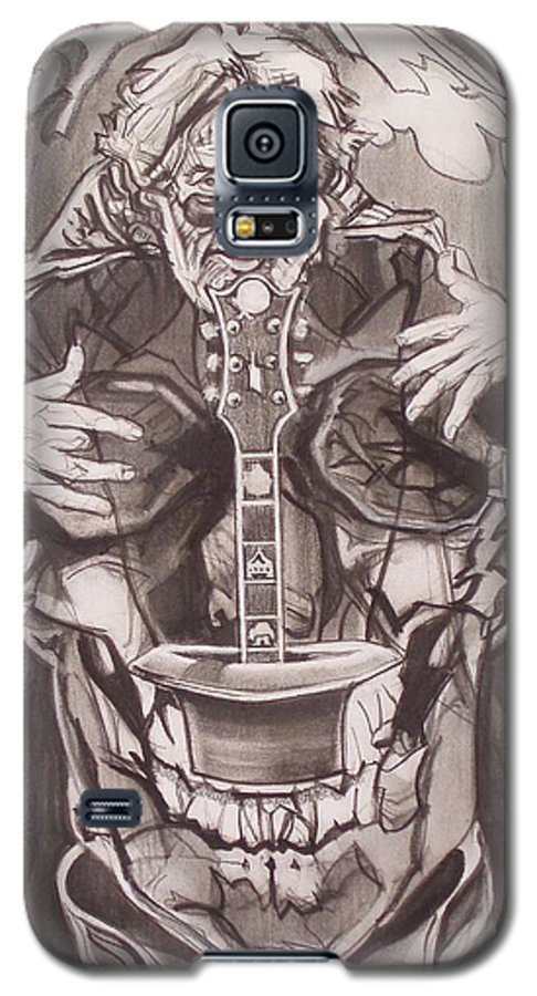 Charcoal; Skull;guitar;music;magic;mystic;wizard;cape;hat;shades;grateful Dead;deadheads Galaxy S5 Case featuring the drawing Jerry Garcia . . Magic Is What We Do - Music Is How We Do It by Sean Connolly