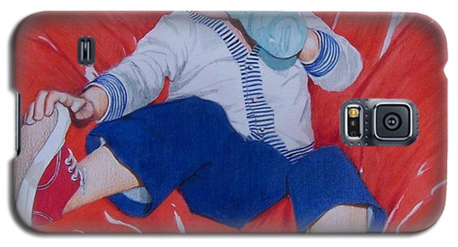 Boy Galaxy S5 Case featuring the mixed media Joey by Constance Drescher
