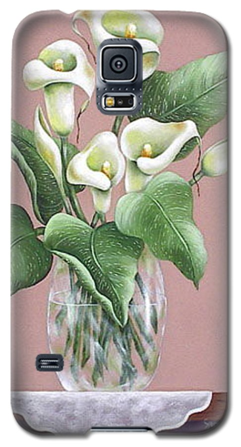 Oil Galaxy S5 Case featuring the painting Josies Lilies by Ruth Bares