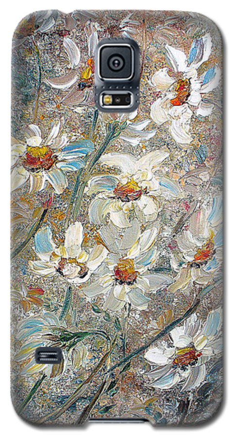 Daisies Painting Abstract Flower Painting Botanical Painting Bloom Greeting Card Painting Galaxy S5 Case featuring the painting Just Dasies by Karin Dawn Kelshall- Best