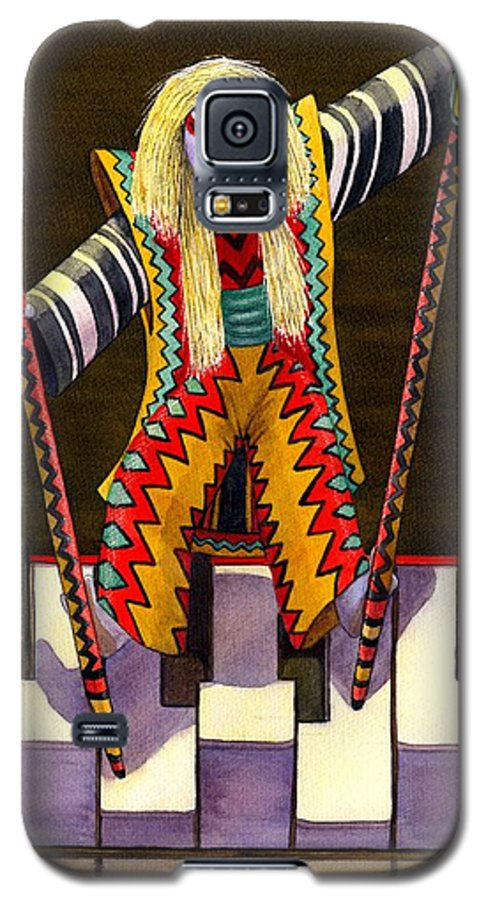 Kabuki Galaxy S5 Case featuring the painting Kabuki Chopsticks 2 by Catherine G McElroy