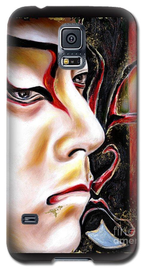 Kabuki Galaxy S5 Case featuring the painting Kabuki Three by Hiroko Sakai