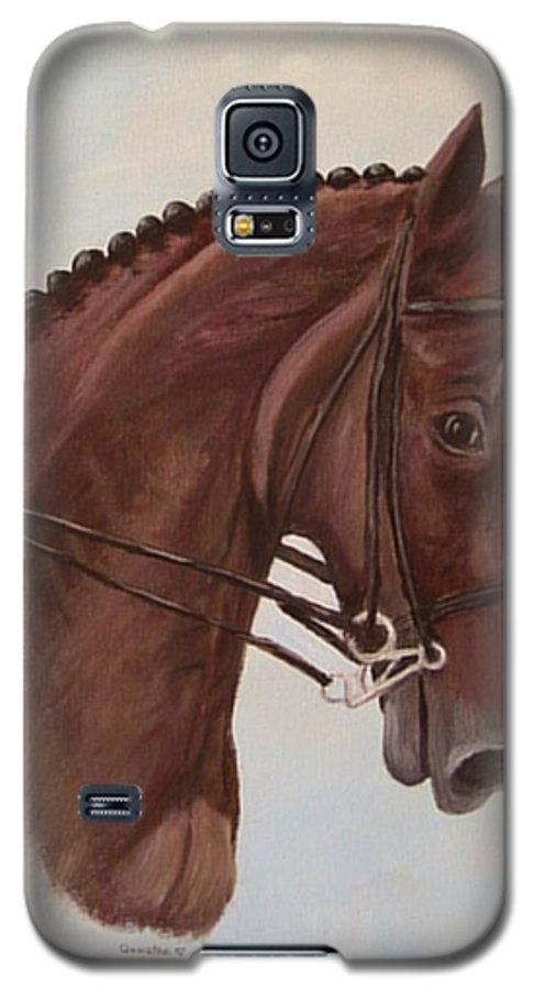 Horse Galaxy S5 Case featuring the painting Kingd'azur by Quwatha Valentine