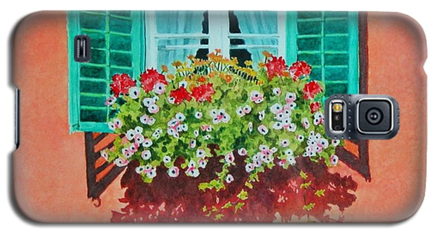 Window Box Galaxy S5 Case featuring the painting Kitzbuhel Window by Mary Ellen Mueller Legault