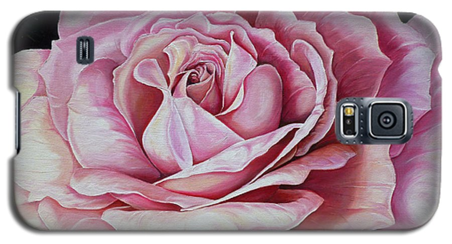 Rose Painting Pink Rose Painting  Floral Painting Flower Painting Botanical Painting Greeting Card Painting Galaxy S5 Case featuring the painting La Bella Rosa by Karin Dawn Kelshall- Best