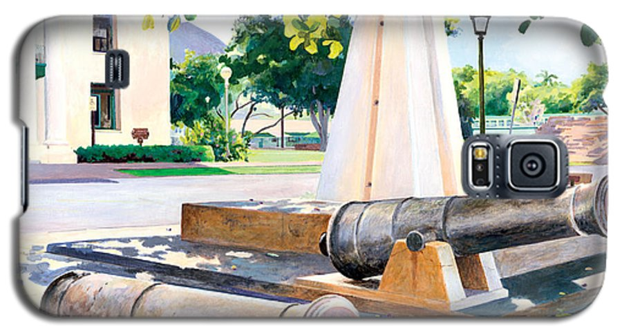 Lahaina Maui Cannons Galaxy S5 Case featuring the painting Lahaina 1812 Cannons by Don Jusko