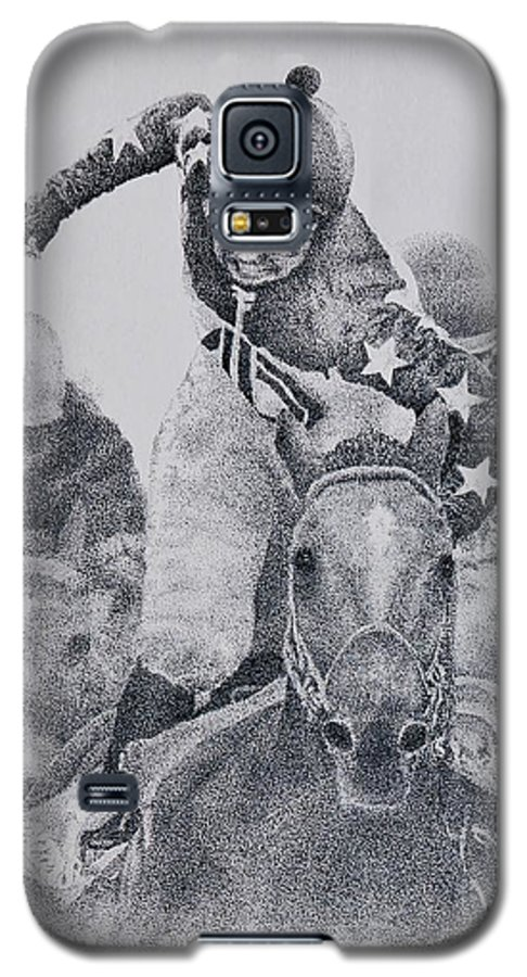Horses Horse Racing Jockeys Racetrack Azeri Thorobreds Galaxy S5 Case featuring the painting Last Call by Tony Ruggiero