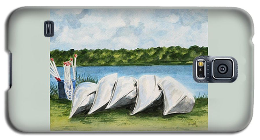 Canoes Galaxy S5 Case featuring the painting Lazy River by Regan J Smith