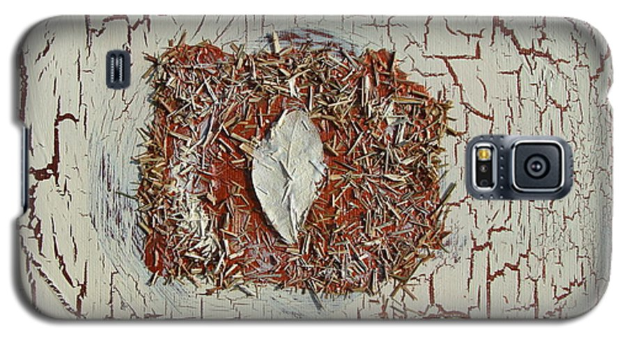 Lemon Grass Galaxy S5 Case featuring the painting Leaf In Winter by Holly Picano