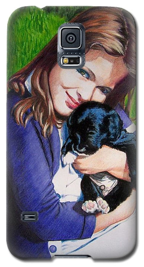 Girl Galaxy S5 Case featuring the mixed media Leslie And Sergeant by Constance Drescher