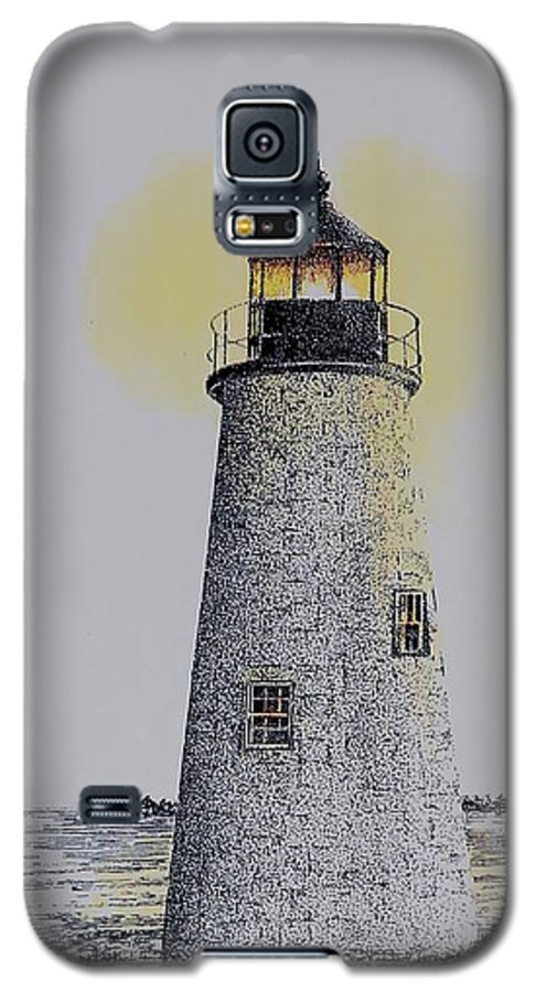New England Lighthouse Seascape Landscape Pen & Ink Watercolor Coastline Connecticut Galaxy S5 Case featuring the painting Light On The Sound by Tony Ruggiero