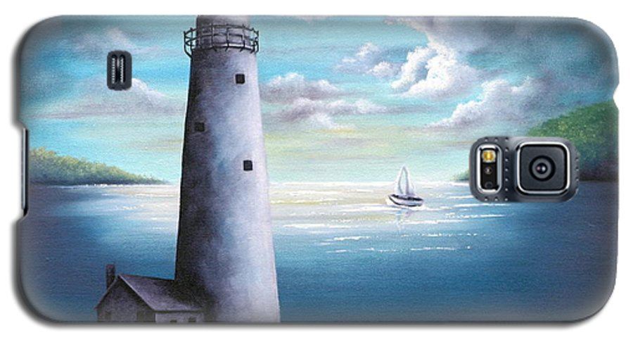 Oil Galaxy S5 Case featuring the painting Lighthouse by Ruth Bares