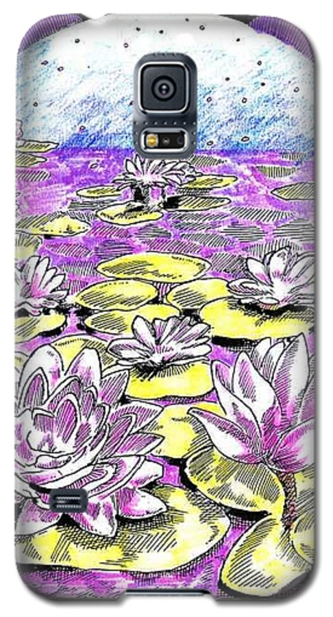 Lilies Of The Lake Galaxy S5 Case featuring the drawing Lilies Of The Lake by Seth Weaver