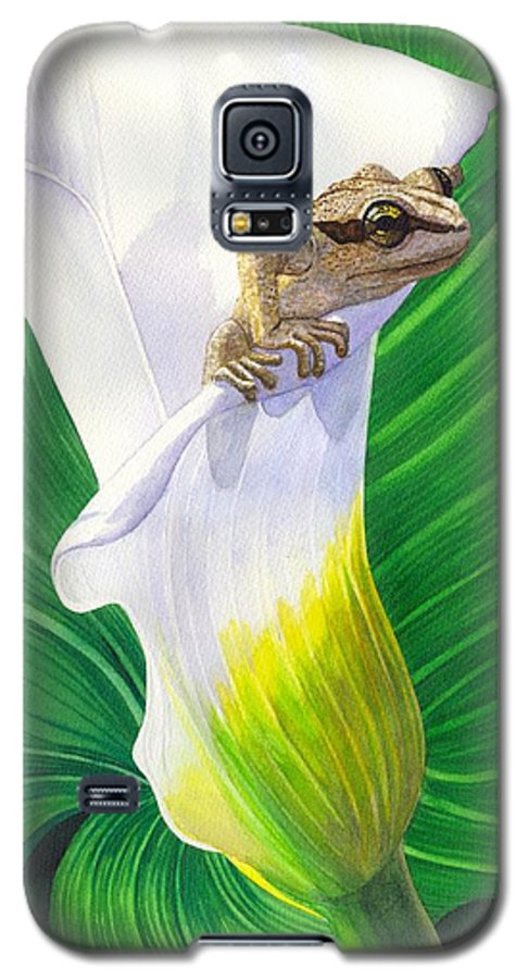 Frog Galaxy S5 Case featuring the painting Lily Dipping by Catherine G McElroy