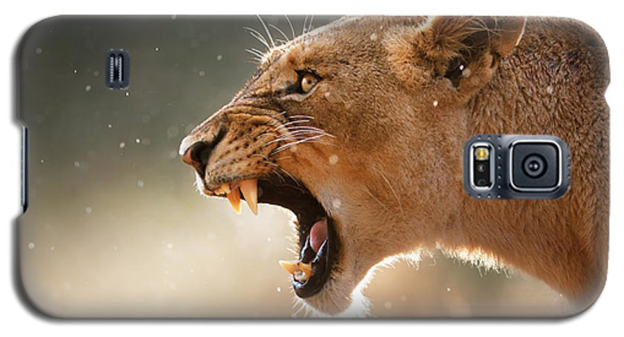 Lion Galaxy S5 Case featuring the photograph Lioness Displaying Dangerous Teeth In A Rainstorm by Johan Swanepoel