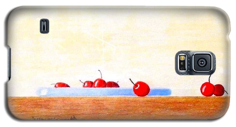 Cherries Galaxy S5 Case featuring the painting Lite Life by A Robert Malcom