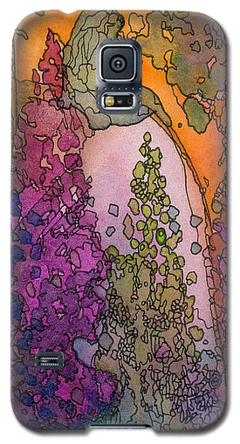 Fantasy Galaxy S5 Case featuring the painting Little Girl On A Rock by Christina Rahm Galanis