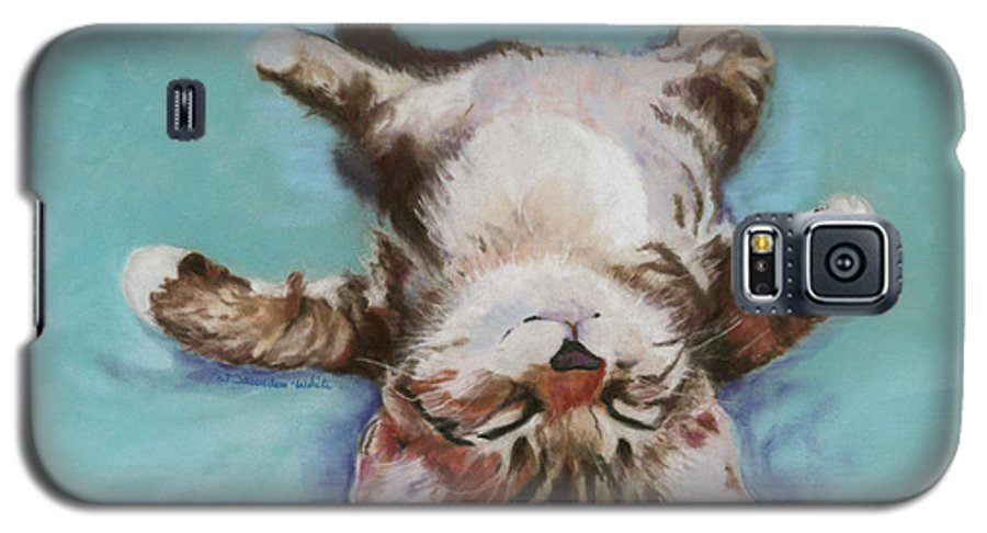 Cat Painting Galaxy S5 Case featuring the pastel Little Napper by Pat Saunders-White