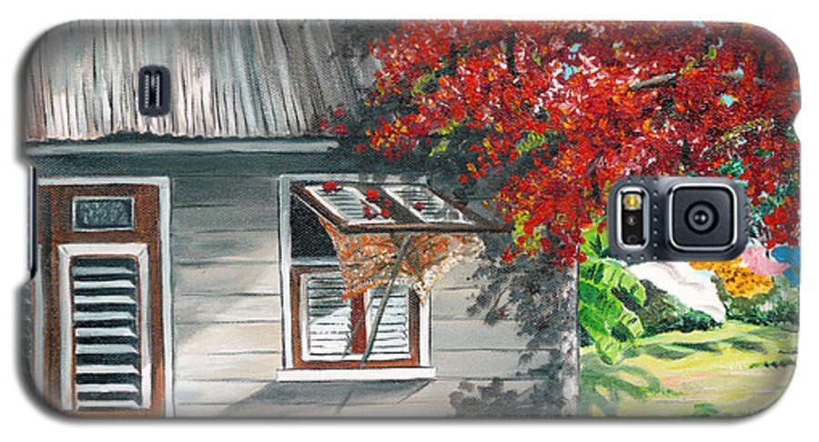 Caribbean Painting Typical Country House In The Caribbean Or West Indian Islands With Flamboyant Tree Tropical Painting Galaxy S5 Case featuring the painting Little West Indian House 1 by Karin Dawn Kelshall- Best