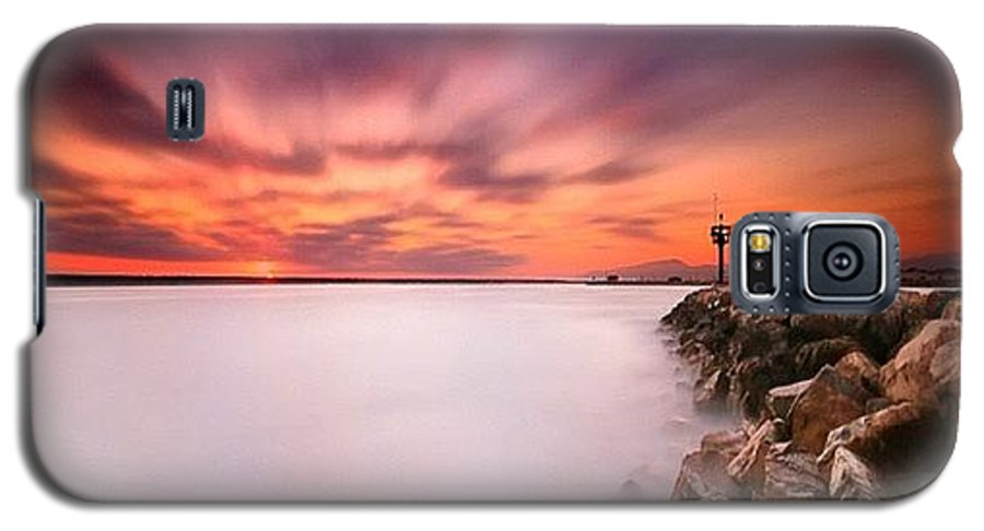 Galaxy S5 Case featuring the photograph Long Exposure Sunset Shot At A Rock by Larry Marshall