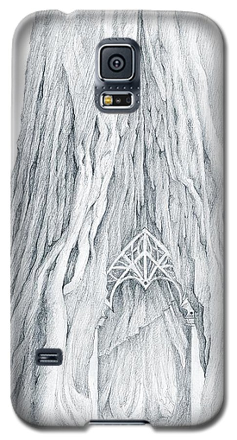 Lothlorien Galaxy S5 Case featuring the drawing Lothlorien Mallorn Tree by Curtiss Shaffer