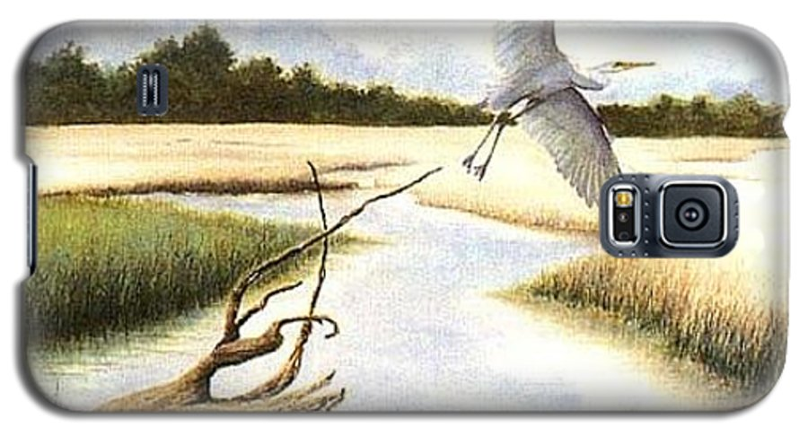 Egret Galaxy S5 Case featuring the painting Low Country Marsh by Ben Kiger