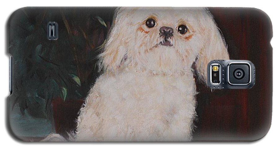 Dog Galaxy S5 Case featuring the painting Lulu by Quwatha Valentine