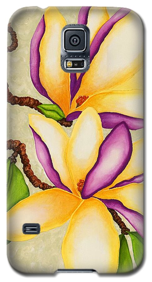 Two Magnolias Galaxy S5 Case featuring the painting Magnolias by Carol Sabo