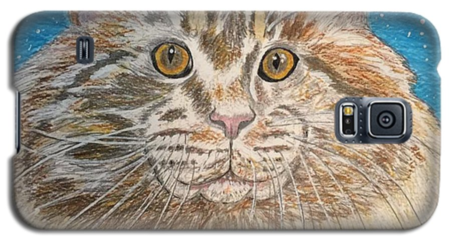 Maine Galaxy S5 Case featuring the painting Maine Coon Cat by Kathy Marrs Chandler