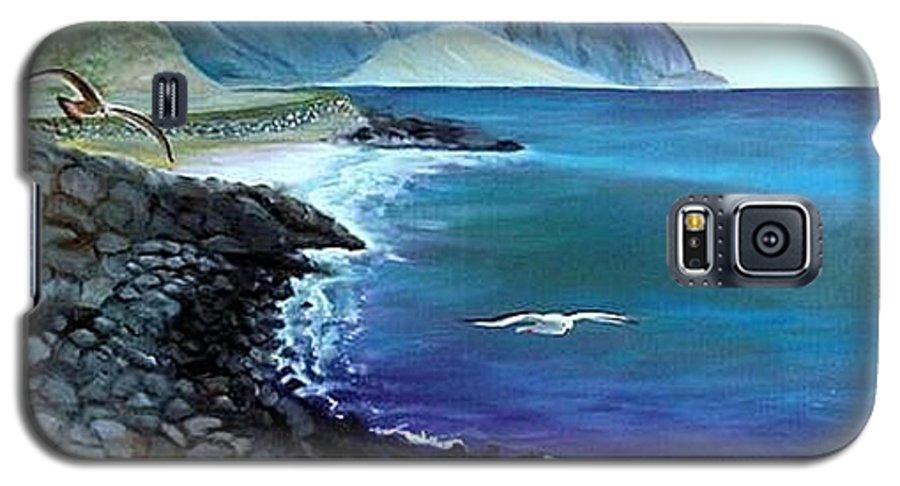 Malibu Beach Galaxy S5 Case featuring the painting Malibu Beach by Lora Duguay