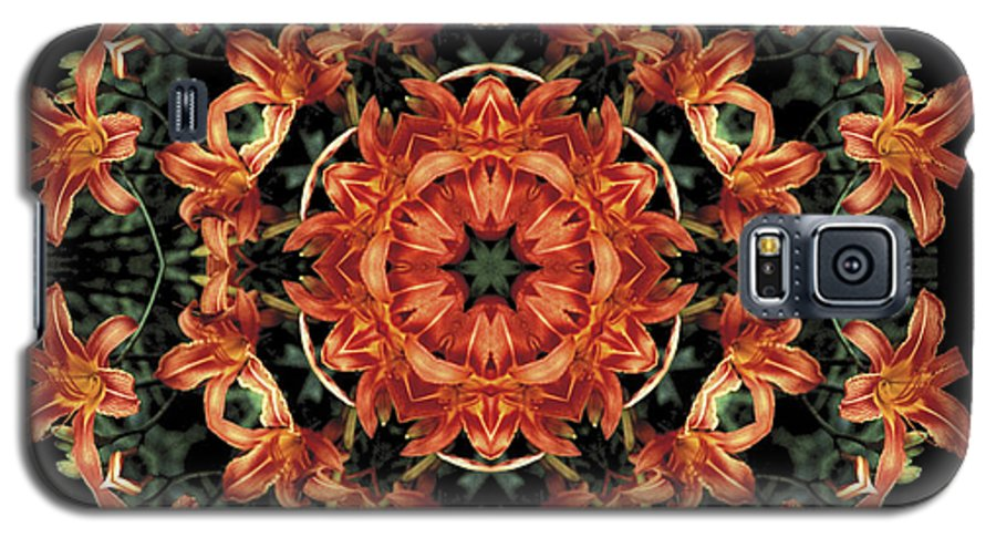 Mandala Galaxy S5 Case featuring the photograph Mandala Daylily by Nancy Griswold
