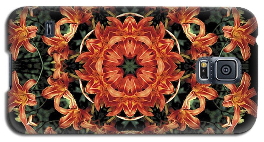 Mandala Galaxy S5 Case featuring the photograph Mandala Daylily by Nancy Griswold