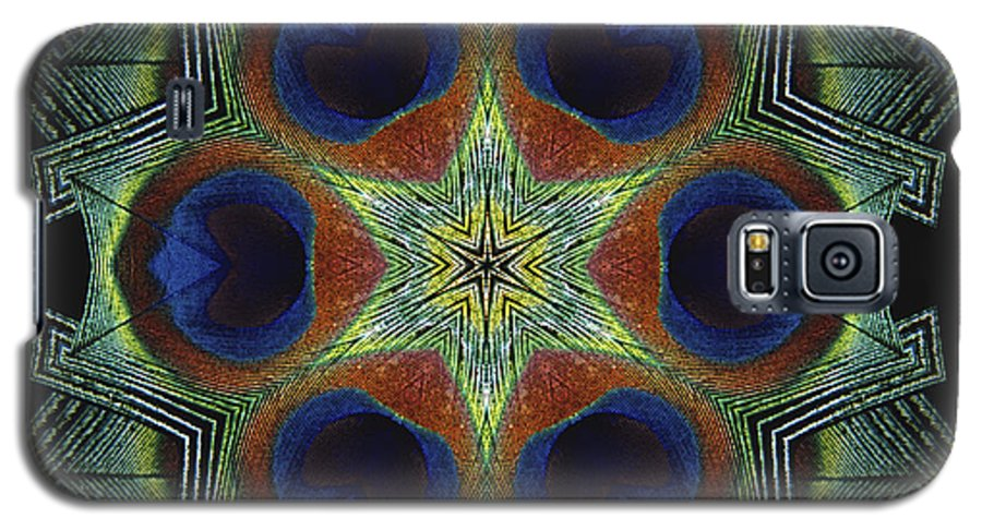 Mandala Galaxy S5 Case featuring the digital art Mandala Peacock by Nancy Griswold