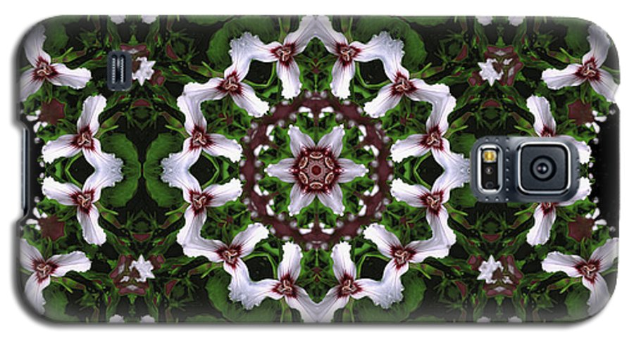 Mandala Galaxy S5 Case featuring the digital art Mandala Trillium Holiday by Nancy Griswold