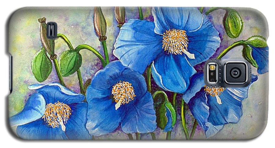 Blue Hymalayan Poppy Galaxy S5 Case featuring the painting Meconopsis  Himalayan Blue Poppy by Karin Dawn Kelshall- Best